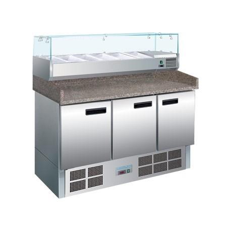 Mostrador refrigerado Polar de 3 puertas, especial para pizzas y ensaladas