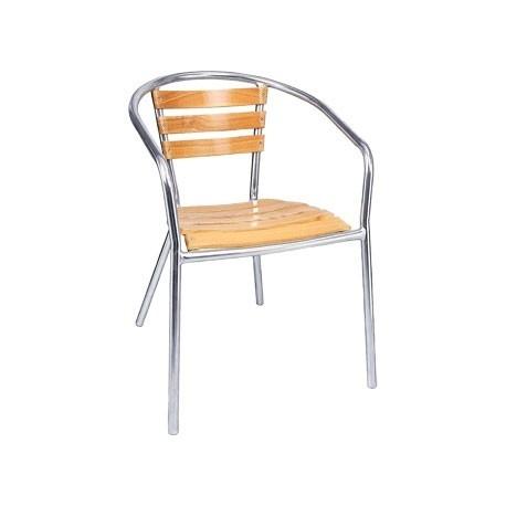 Pack de 4 sillas apilables Bolero de fresno y aluminio