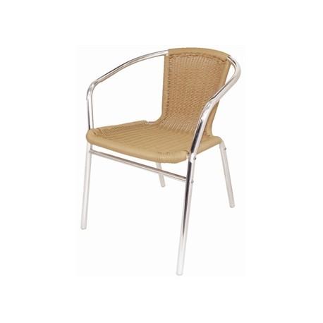 Pack de 4 sillas Bolero de aluminio e imitación de mimbre