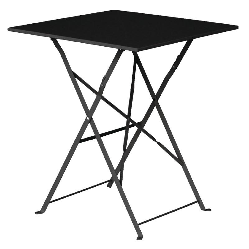 mesa plegable cuadrada de acero para terraza color rojo