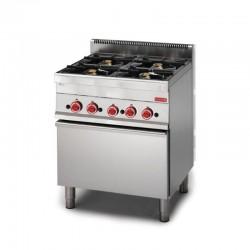 Cocina a gas 4 fuegos con horno fondo 650 mm
