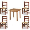 Conjunto de mesa de 80 x 80 cm. y 4 sillas Castellana de madera y asiento de anea