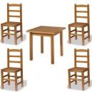 Conjunto de mesa de 80 x 80 cm. Y 4 sillas Castellana de madera