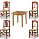 Conjunto de mesa de 80 x 80 cm. y 4 sillas Palmi de madera y asiento de anea