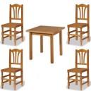 Conjunto de mesa de 80 x 80 cm. Y 4 sillas Palmi de madera