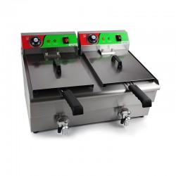 Freidora industrial eléctrica doble cuba 10 litros con grifos