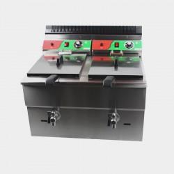 Freidora industrial a gas doble cuba 18 litros con grifos