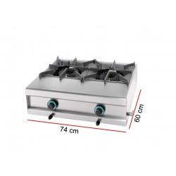Cocina a gas 2 fuegos sobremesa fondo 550mm TINTÓ serie Eco Modelo 2FSM